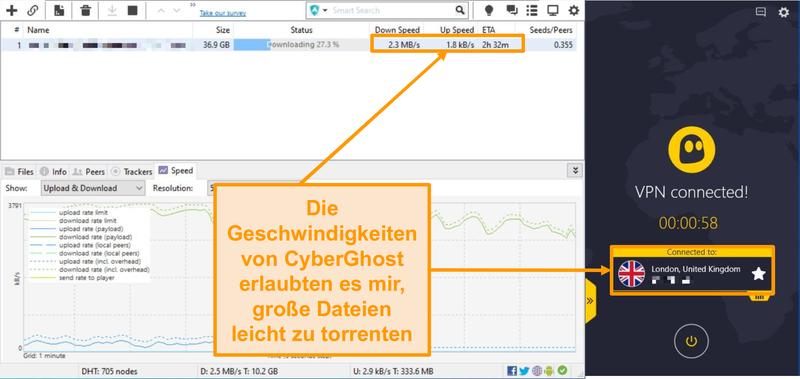 Screenshot von BitTorrent beim Herunterladen einer Torrent-Datei