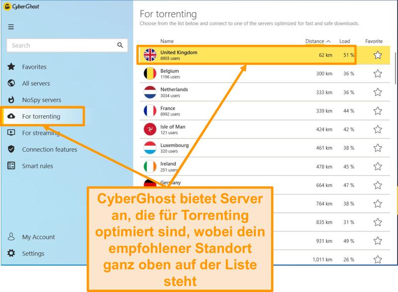 Screenshot der P2P-optimierten Server von CyberGhost