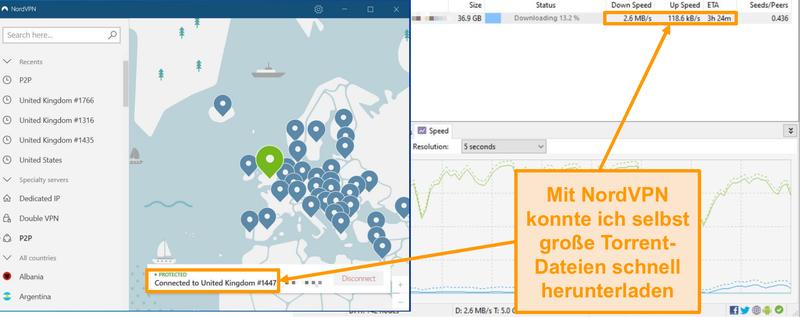 Screenshot des Herunterladens einer Torrent-Datei, während sie mit NordVPN verbunden ist