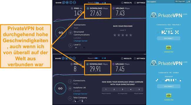 Screenshot des PrivateVPN-Geschwindigkeitsvergleichs