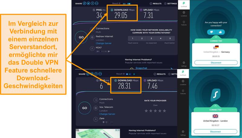 Screenshot des Surfshak-Geschwindigkeitsvergleichs