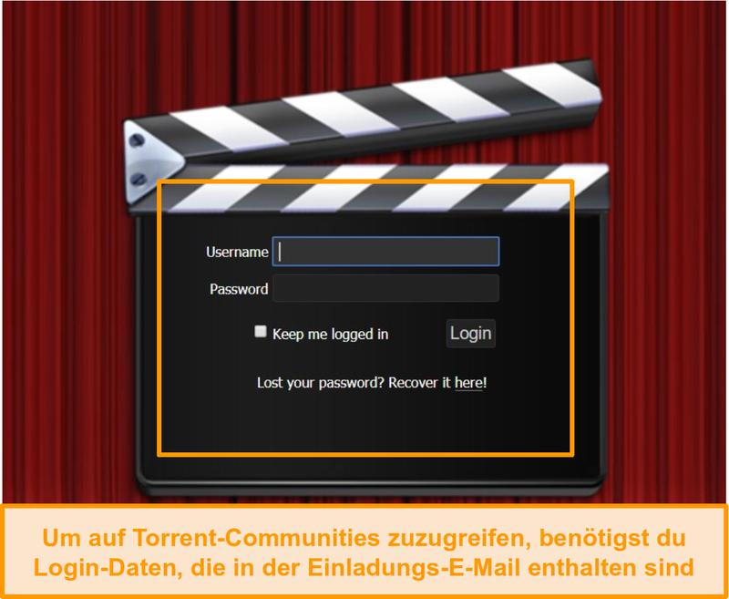 Screenshot der PassThePopcorn-Anmeldeseite