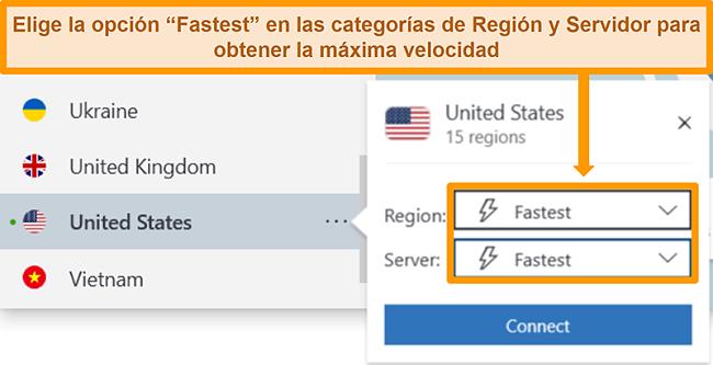 Captura de pantalla de las opciones de servidor de NordVPN para EE. UU. Que muestra la región y el servidor más rápidos