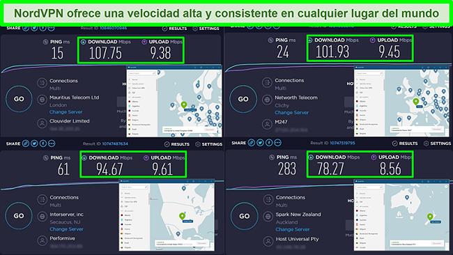 Capturas de pantalla de pruebas de velocidad con NordVPN conectado a diferentes servidores globales