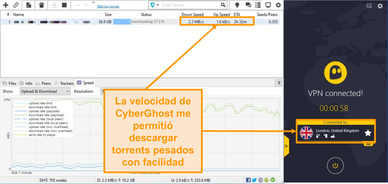 Captura de pantalla de BitTorrent descargando un archivo torrent