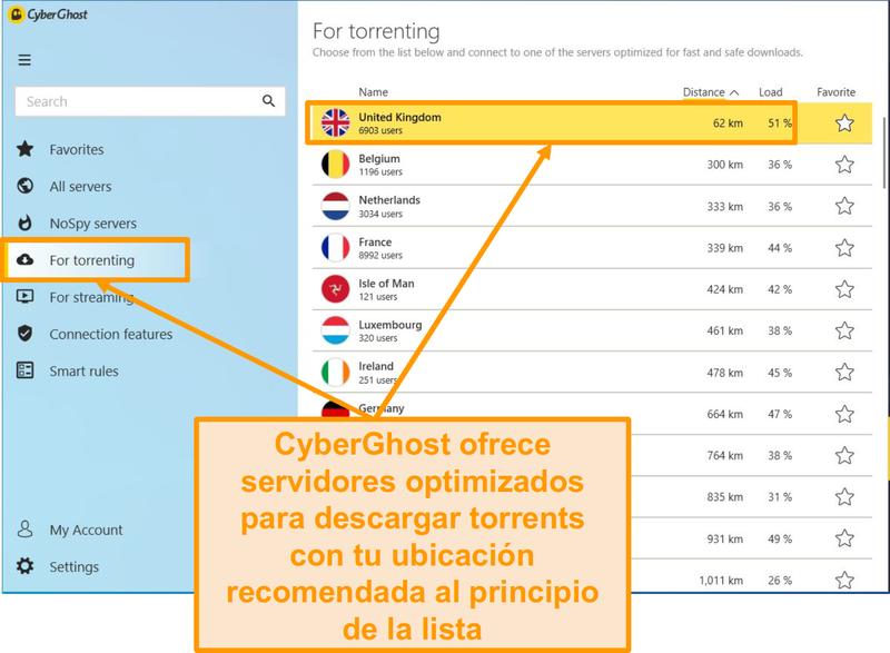 Captura de pantalla de los servidores optimizados P2P de CyberGhost