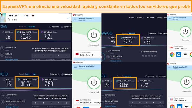 Captura de pantalla de comparación de velocidad entre diferentes servidores De ExpressVPN