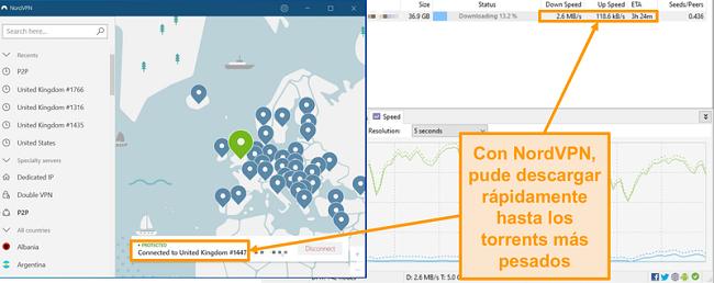 Captura de pantalla de la descarga de un archivo torrent mientras está conectado a NordVPN