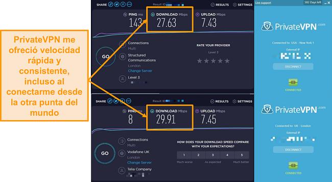 Captura de pantalla de la comparación de velocidad de PrivateVPN
