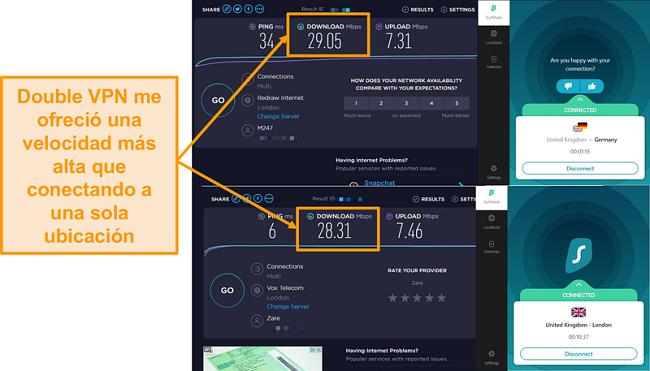 Captura de pantalla de la comparación de velocidad Surfshak
