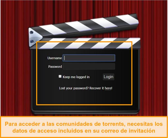 Captura de pantalla de la página de inicio de sesión de PassThePopcorn