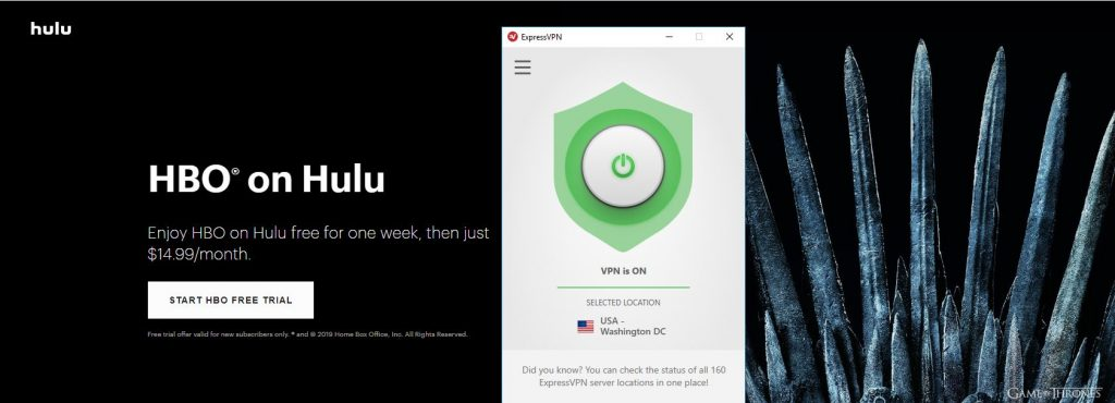 HBO on Hulu with Express VPN