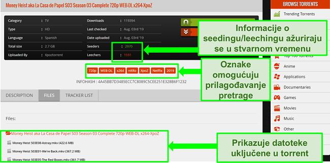 Snimka zaslona stranice za preuzimanje 1337xTorrents
