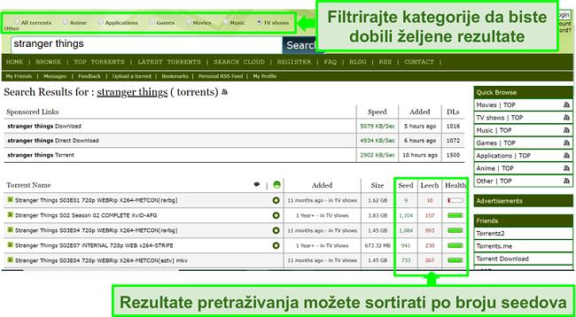 Snimka zaslona stranice pretraživanja Limetorrentsa