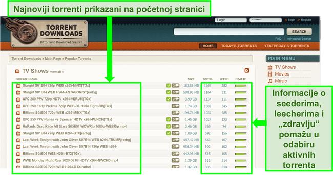 Snimka zaslona TorrentDownloads odredišne stranice