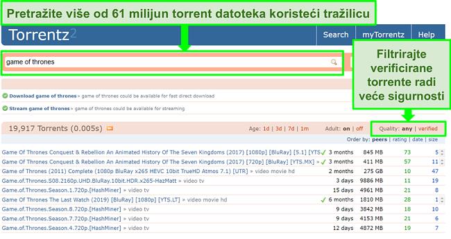Snimka zaslona stranice pretraživanja Torrentz2