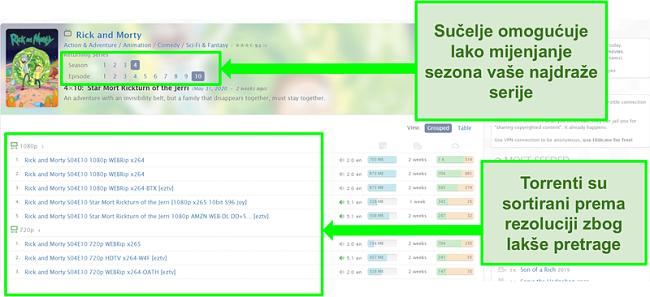 Snimka zaslona Zooqle odredišne stranice