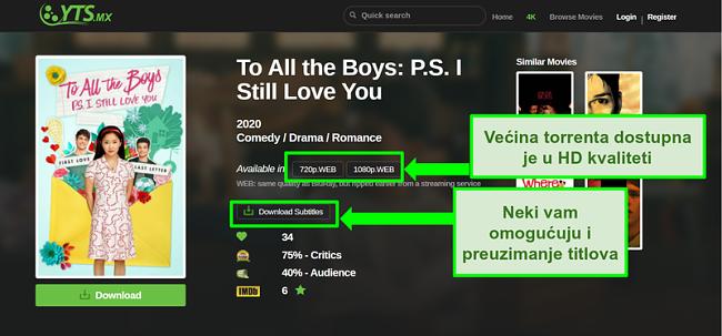 Snimka zaslona YTS odredišne stranice