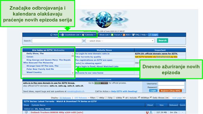 Snimka zaslona odredišne stranice EZTV-a