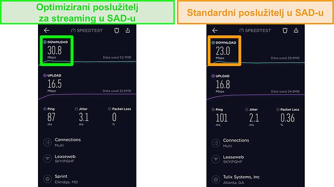 Snimka zaslona testova brzine Ookla iOS-a