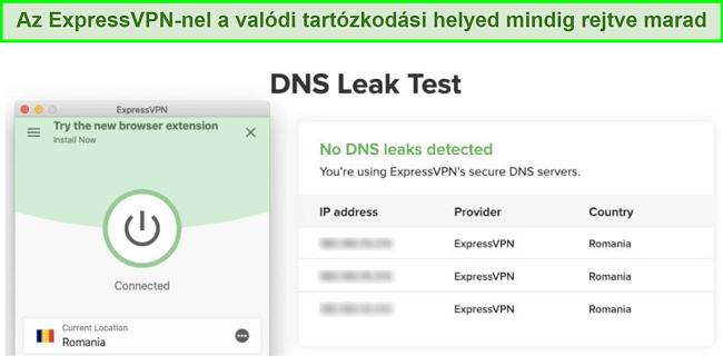 képernyőkép a sikeres DNS-szivárgástesztről az ExpressVPN for Kodi használatával