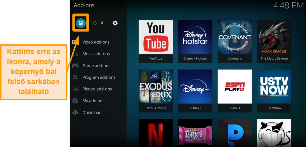 képernyőkép a hivatalos kodi addon telepítésének harmadik lépéséről kattintson a doboz ikonra