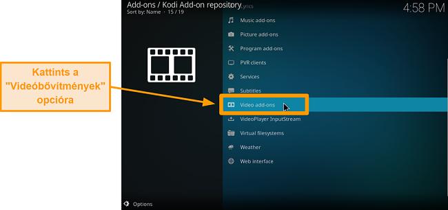 képernyőkép a hivatalos kodi addon telepítéséről, kattintson a hat kattintásos videó kiegészítőkre
