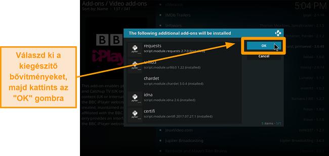 A hivatalos kodi addon telepítésének képernyőképe kilencedik lépés ellenőrizze a további kiegészítőket, majd kattintson az OK gombra