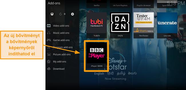 képernyőkép a hivatalos kodi addon telepítéséről, tizenegy lépés indítson új kiegészítőt a honlapról