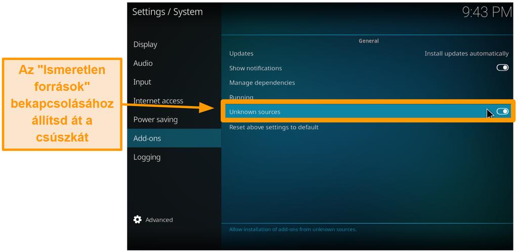 képernyőkép a harmadik féltől származó kodi addon telepítéséről 4. lépés kapcsolja be az ismeretlen forrásokat