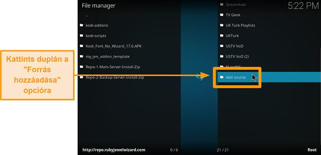 képernyőkép a harmadik féltől származó kodi addon telepítéséről 6. lépés kattintson a forrás hozzáadása gombra