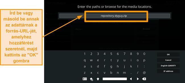 képernyőkép a harmadik fél kodi addon telepítésének 8. lépéséről írja be a forrás URL-t