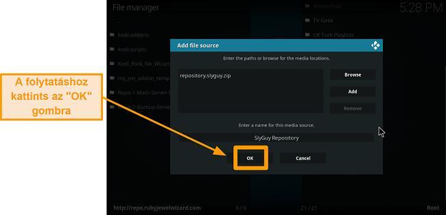 képernyőkép a harmadik fél kodi addon telepítésének 11. lépéséről kattintson az OK gombra