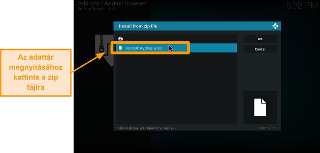 képernyőkép a harmadik fél kodi addon telepítéséről 16. lépés: kattintson a zip fájlra a repo megnyitásához