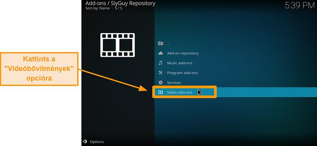 képernyőkép a harmadik féltől származó kodi addon telepítéséről 20. lépés: kattintson a videó kiegészítőkre