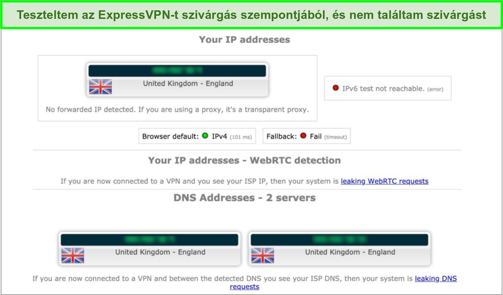 A képernyőképe az ExpressVPN szivárgási teszt eredményeiről, amikor az Egyesült Királyságban egy szerverhez kapcsolódik