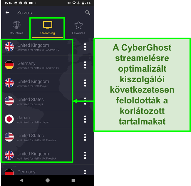 A képernyőképe a CyberGhost streaming-optimalizált szervereiről