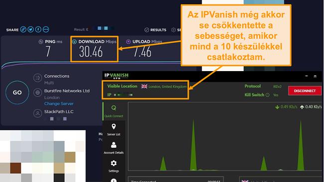 Képernyőkép az IPVanish kapcsolattal kapcsolatos sebességtesztről