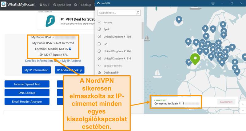 Képernyőkép az IP-címtesztről, amely azt mutatja, hogy a NordVPN sikeresen elfedi az IP-címeket