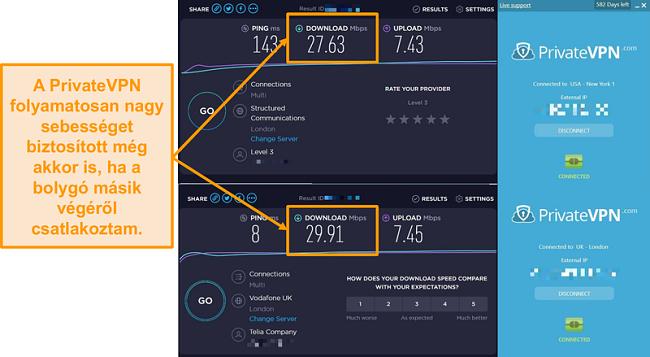 Képernyőkép a PrivateVPN sebesség összehasonlításáról