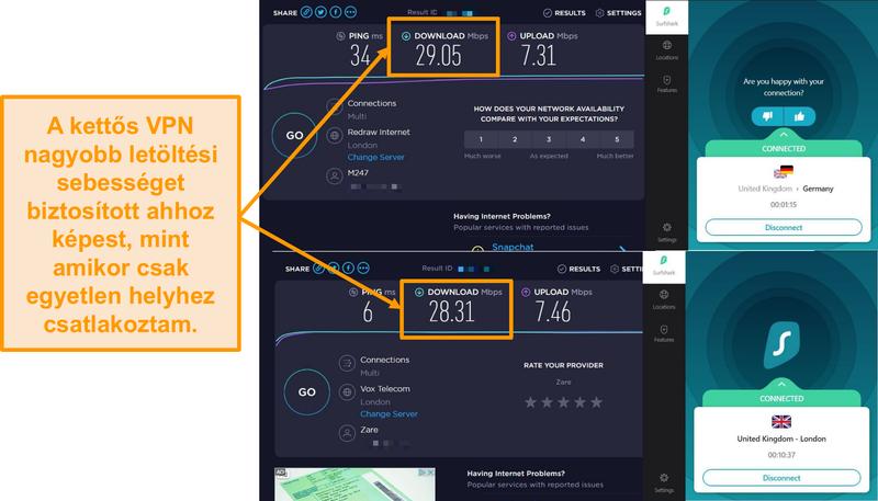 Képernyőkép a Surfshak sebesség összehasonlításáról