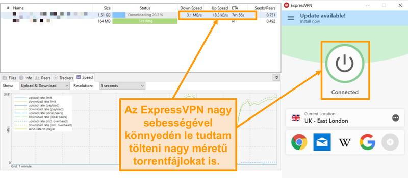 Képernyőkép a torrentfájlok ExpressVPN-kapcsolattal történő letöltéséről