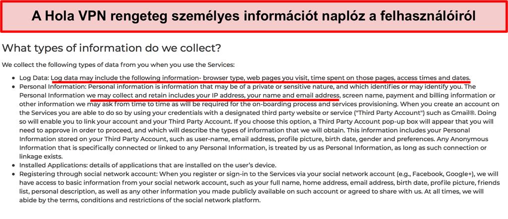 A Hola VPN adatvédelmi irányelveinek képernyőképe, amely bemutatja, hogy naplózza az IP címet