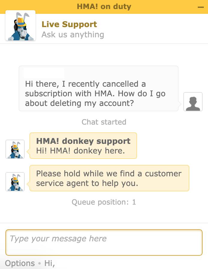 HMA live chat
