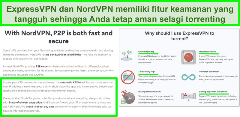 Tangkapan layar situs web NordVPN dan ExpressVPN yang menunjukkan bahwa mereka mendukung torrent
