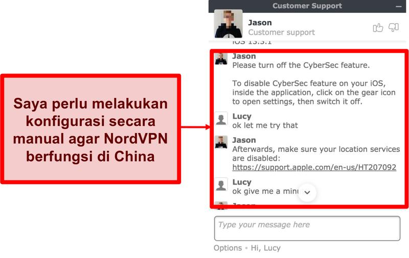 Tangkapan layar obrolan dengan NordVPN meminta saran tentang cara membuat aplikasi berfungsi di Cina