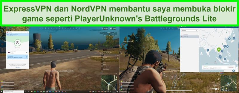 Tangkapan layar NordVPN dan ExpressVPN yang membuka blokir PlayerUnknown's Battlegrounds Lite di PC