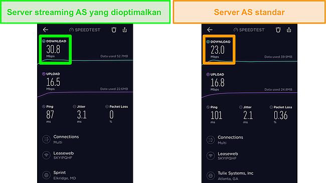 Tangkapan layar tes kecepatan Ookla iOS