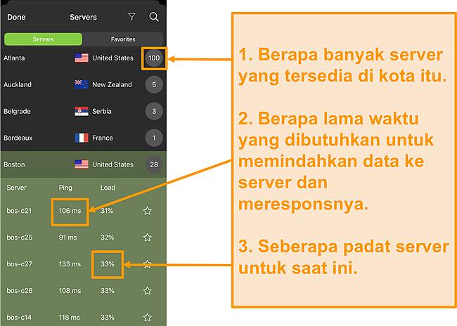 Tangkapan layar daftar server IPVanish dengan nomor server, ping, dan beban server disorot
