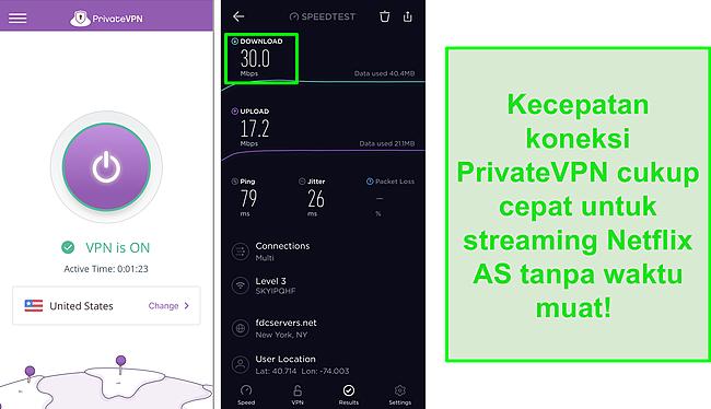 Tangkapan layar PrivateVPN terhubung ke server AS dan uji kecepatan Ookla